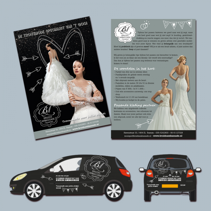 print en autobelettering Bruidsambassade